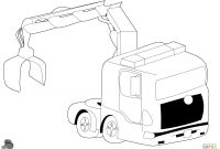 Tractor Trailer Coloring Pages - Truck with Crane Coloring Page