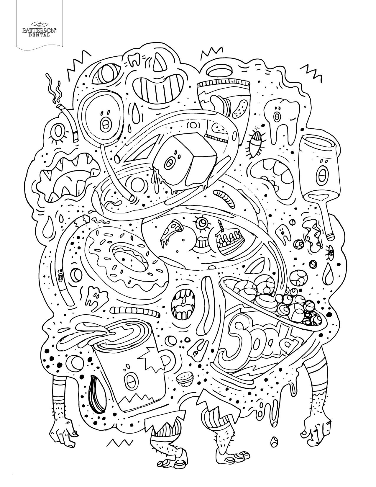 Unhealthy Food Coloring Pages  Collection 14n - To print for your project