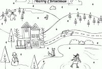 Winter Scene Coloring Pages - Winter Scene Coloring Pages Christmas Holiday Printable Coloring