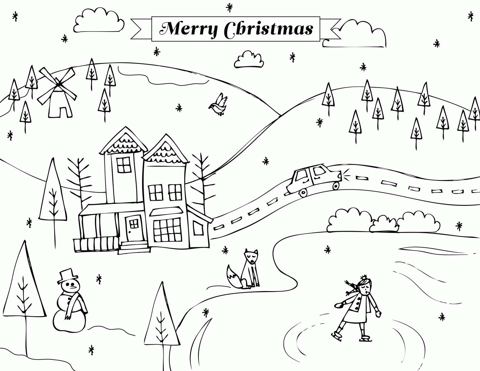 Winter Scene Coloring Pages  to Print 8j - Save it to your computer