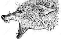 Wolf Printable Coloring Pages - Patterned Head the Wolf Tribal Ethnic totem Tattoo Design