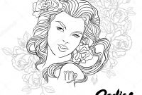 Zodiac Signs Coloring Pages - Zodiac Virgo Girl Coloring Page Shutterstock